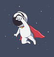 astronaut like a superhero flies in space vector image
