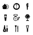 beautician icons set simple style vector image vector image