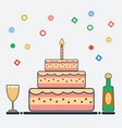 birthday design in flat style vector image vector image