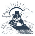 black and white happy groundhog day vector image vector image
