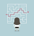 businesswoman standing in front of a maze vector image vector image