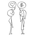 cartoon of man and woman talking about money and vector image vector image