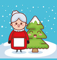 christmas grandmother with pine character icon vector image