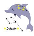 cute cartoon style hand drawn dolphin vector image vector image