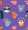 Cute funny circus animals seamless pattern