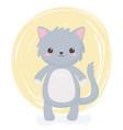 cute gray cat animal standing cartoon background vector image vector image