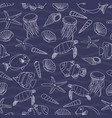 cute hand drawn sea life seamless pattern vector image vector image