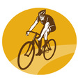 cyclist riding racing bike retro vector image vector image