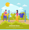 flat colored lazy weekends people composition vector image