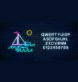glowing neon summer sign with sailing ship vector image vector image