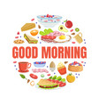 good morning banner template with tasty morning vector image vector image