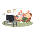 happy family watch tv or movies sit on home couch vector image vector image