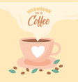 international day coffee cup with heart seeds vector image vector image