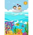 kids rowing on paper boat vector image vector image