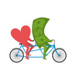 love and money in tandem selling love dollar and vector image vector image