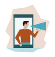 man with loudspeaker refer friends from smartphone vector image vector image