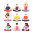 meditation people woman and man meditating in vector image