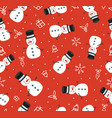 merry christmas cute snowman seamless pattern vector image vector image