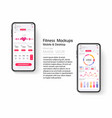 mockup for mobile fitness app with menu reviews vector image
