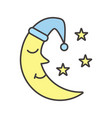 moon with nightcap and stars color icon vector image