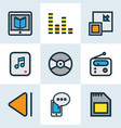 music icons colored line set with multimedia vector image vector image