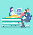 pregnant woman checkup ultrasound scanning vector image