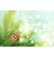 realistic spruce branch with pinecone vector image vector image