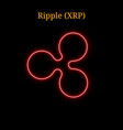 red neon ripple xrp cryptocurrency symbol vector image