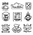 restaurant vintage logo chef retro labels vector image vector image
