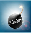 round bomb with a burning wick and word economy vector image vector image
