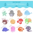 sea fishes and animals vector image