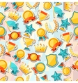 Seamless pattern with trophy and awards stickers vector image vector image