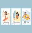 set vintage banners with pretty girls vector image
