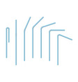 set white blue drinking straws isolated vector image