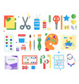 themed kids creativity creation symbols poster in vector image vector image