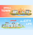 town and city - set of modern flat vector image