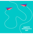 Two paper planes dash line independence day vector image vector image