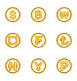 types of money icon set cartoon style vector image vector image
