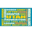 Utah state cities list vector image vector image