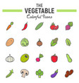 vegetable colorful line icon set food signs vector image