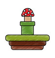 video game terrain mushroom platform vector image