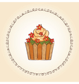 watercolor cupcake with flowers and leaves vector image vector image
