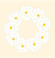 white camellia flower wreath isolated on beige