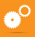 white cogwheels icon flat design element vector image