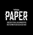 white paper craft style font vector image vector image