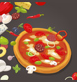 whole pizza and ingredients for pizza vector image