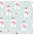 winter seamless pattern with polar bears and birds vector image vector image