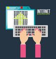 woman typing in the keyboard and using the vector image
