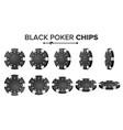 black poker chips realistic set plastic vector image