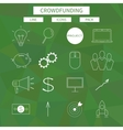 Flat line icons set of crowd funding service vector image
